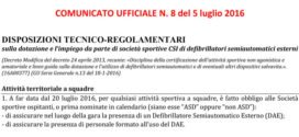 Disposizioni tecnico-regolamentari sulla dotazione e l'impiego da parte di società sportive CSI di defibrillatori semiautomatici esterni